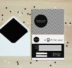 Black chevron double sided gift certificate by deideigraphic
