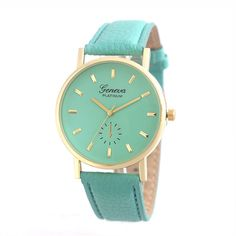 mint leather watch, leather watch