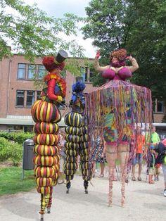 Circus stilts walkers