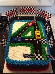 4th birthday race car cake More