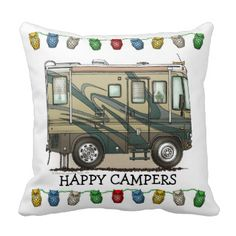 Memories of camping last a lifetime! And so do those memories of your RV motorhome camper. These whimsical RV motorhome camper throw pillows are as cute as they can be:) This RV motorhome camper was designed by artist Richard Neuman. His uniquely styled vintage RV motorhome artwork is collected worldwide. You will find these Happy Campers pillows are great RV motorhome camping RVing gifts that will make fellow camping buddies happy campers! Get theRV coach motorhome image on throw pillows…