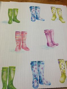 'Wellies' Wallpaper by Voyage 'Country' Wall Art @ Cotton Tree Interiors UK (+44)1728 604700
