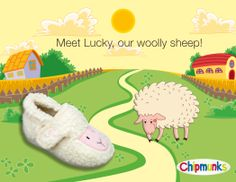 Meet Lucky, our woolly sheep!  Coming soon!  #Sheep #Slippers #Footwear #Childrens #Chipmunks