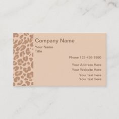 Natural Earth Tone Color Trendy Animal Pattern Business Card Trendy animal pattern modern business card template designed for the beauty industry or fashion boutique. #Artist Fashion Business Cards, Modern Business Cards, Calendula, Natural Earth, Beauty Industry, Earth Tones, Fashion Boutique, Smudging, Paper Texture