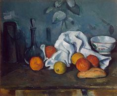 It is hard to overemphasize the importance of still life paintings in the work of Cezanne. The world of ordinary objects attracted the artist with the potential expressiveness of three-dimensional forms. Although the theme recalls the still lives of the Old Masters, with its china, napkins and fruits, unlike those painters Cezanne was indifferent to texture, seeking to bring out in each element the concrete form and mass of the object. The very simplicity of the forms gives them a strange…