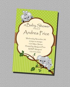 Koala Gender Neutral Shower Invitation by perfectcelebrations, $8.50