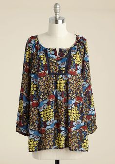 Readily Reminiscent Flroal Top. In the throwback charms of this floral blouse, feeling nostalgic is a guarantee! #blue #modcloth