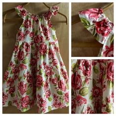 Boho Rose Cotton Summer Dress, girls size 8 by SewMeems on Etsy