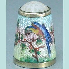 RARE Antique Silver Norwegian Enameled Parrot Thimble * C1900s