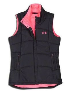 Under Armour Neon Pink Black Puffer Vest sz M Women's NWT RARE Semi Fitted - I need a vest like this!