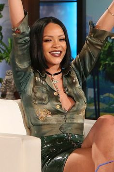 Rihanna February 4 2016 Wearing a patent green, zip-fronted mini skirt with a cropped shirt for her appearance on the The Ellen DeGeneres Show in New York