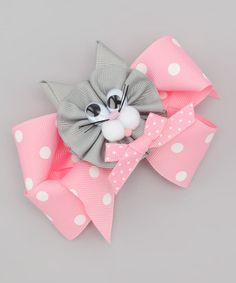 Take a look at this Pink & Gray Cat Bow Clip by Picture Perfect Hair Bows on #zulily today!