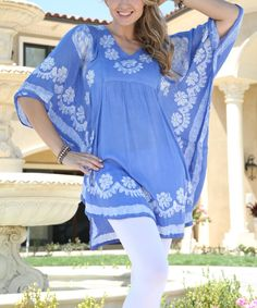 Love this Ananda's Collection Light Blue Floral Embroidered Dolman Tunic - Plus by Ananda's Collection on #zulily! #zulilyfinds