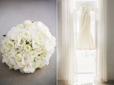 Elegant νυφική ανθοδέσμη με λευκά τριαντάφυλλα και ορτανσίες. See Full Post   Photography by WEDTIME STORIES