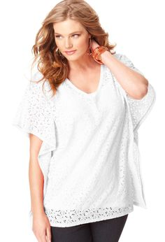Plus Size Crochet Lace Batwing Tunic Top | Plus Size Tunics | Avenue