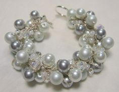 Wedding Bracelet, Bridal Party - MOON SILVER - Snow White, Satin Silver Grey Pearl Cluster, Unique Hand Knit Jewerly on Etsy