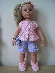 Image result for free doll clothes knittingtuto gilet court  patterns