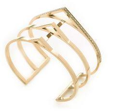 Sophia 3 Bar Open Triangle Cuff in Gold with one row of white diamonds! #phynebypaigenovick #finejewelry #cuff #sophiacuff #resort2015