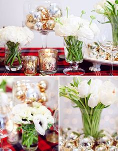 Tartan, metallic ornaments, and white flowers - love the mix of rustic, traditional, and glam All Things Christmas, Christmas Holidays, Christmas Decorations, Christmas Ideas, Christmas Crafts, Wedding Decorations, Seasonal Celebration, Holiday Themes, Christmas Wedding Flowers