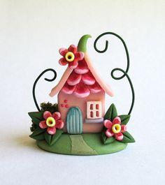 Miniature Sweet Petal Gable Fairy House OOAK by C. Rohal
