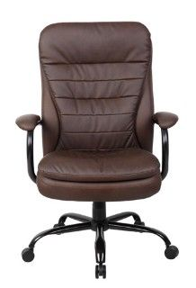 leather desk chair with padded armrests and wooden swivel http