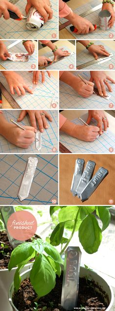 Here's a fun Eco-friendly craft - up-cycle a regular pop can into charming rustic garden markers - Check out the tutorial. - Be very careful if trying this craft. Aluminum edges can cut. Garden Crafts, Garden Projects, Garden Art, Rustic Gardens, Outdoor Gardens, Soda Can Crafts, Plant Labels, Plant Markers, Pop Cans