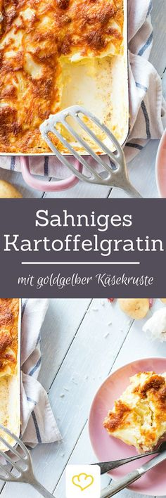 Sahniges Kartoffelgratin mit goldgelber Käsekruste Creamy potato gratin with golden-yellow cheese crust Potatoes and boring? Whether processed into crispy croquettes or delicious dumplin Vegetarian Recipes, Cooking Recipes, Good Food, Yummy Food, Food Inspiration, Food Porn, Food And Drink, Favorite Recipes, Meals
