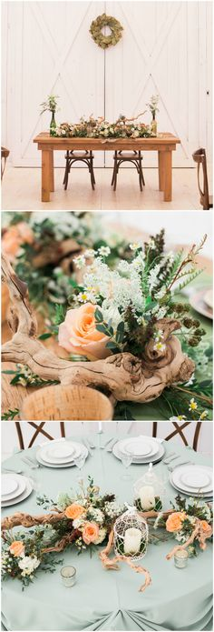 Natural indoor wedding reception, seafoam green table tablecloths, driftwood, orange roses, daisies // Adria Lea Photography