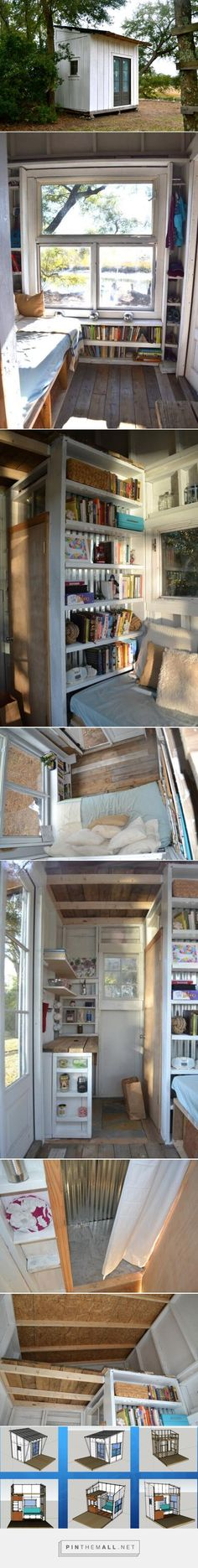 8 ft x 8 ft (96 sq ft) tiny house built from salvage for less than $400 sofa/bed pulls out to full size, tall shelves act as ladder to loft (for another bed or storage), lots of salvaged windows enlarge the feeling of space, sink for the kitchen area to be added soon - Chucktown Tiny Houses - Thesis Tiny House found at: http://chucktowntinyhouses.wikispaces.com/Thesis+Tiny+House - created via http://pinthemall.net