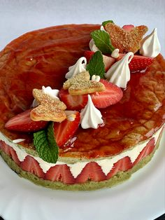 Tarta de fresas Deserts, Strawberry Fruit, French Tips, Pies, Cooking, Postres, Dessert, Plated Desserts, Desserts