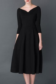 6762a9d6fe1 Cys Black A Line Midi Hepburn Dress