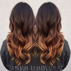 Layered v-cut with red ombre balayage hair brunette caramel, caramel ombre hair, Balayage Hair Brunette Caramel, Caramel Ombre Hair, Brown Ombre Hair, Brunette Color, Brown Hair Colors, Red Ombre, Fall Balayage, Ombre Hair Brunette, Carmel Ombre