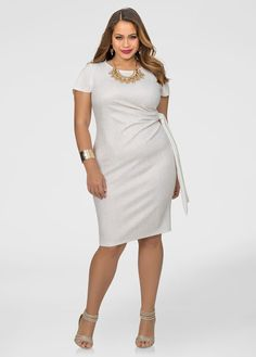 Metallic Side Knot Sheath Dress-Plus Size Dresses-Ashley Stewart Plus Size Dress Stores, Plus Size Maxi Dresses, Types Of Dresses, Plus Size Outfits, Plus Size Womens Clothing, Plus Size Fashion, Clothes For Women, 50 Fashion, Plus Size Kleidung