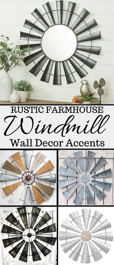 the best and most beautiful windmill themed, rustic and industrial, wall decor items that will give your beautiful home a charming farmhouse vibe. Farmhouse Wall Clocks, Rustic Farmhouse Decor, Farmhouse Style Decorating, Farmhouse Furniture, Rustic Decor, Windmill Wall Decor, Windmill Decor, Wall Candle Holders, Home Decor Inspiration