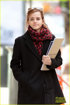 Emma Watson Braves Frigid Cold for NYC Apartment Hunting!: Photo Emma Watson doesn't seem to mind the cold weather while roaming around town searching for apartments on Monday (January in New York City. Emma Watson Pics, Taylor Swift Legs, Tartan Scarf, New York, How To Wear Scarves, Hermione Granger, Every Girl, Women Wear, Beautiful Women