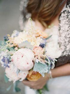 pastel wedding bouquet http://www.weddingchicks.com/2014/01/23/great-gatsby-inspired-montana-elopement/