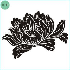 peony stencil pattern Stencil Patterns, Stencil Designs, Paint Designs, Drawing Stencils, Stencil Diy, Silhouette Cameo Projects, Japan Art, Sketch Design, Ink Color