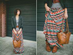a favorite Fall combo: maxi skirt, blazer & boots