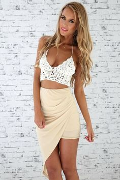 Lace crop top with a high waisted skirt