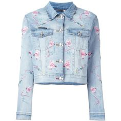 Philipp Plein 'Pycnopodia' denim jacket ($1,329) ❤ liked on Polyvore featuring outerwear, jackets, blue, embroidered denim jacket, cropped jacket, pattern jacket, cropped jean jacket and blue denim jacket