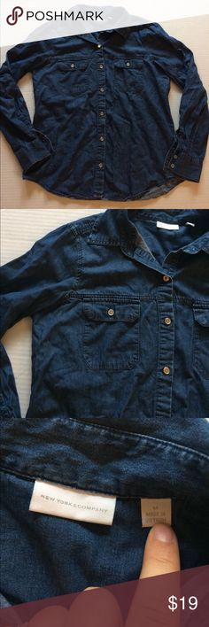 "NY and COMPANY Chambray Top! Dark denim An excellent condition Chambray Top from ny and company! Bust Is 20"" length is 25"" front 26"" back new york and company Tops Button Down Shirts"