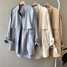 2019 Woman Short Fund Windbreaker Casual Student Clothes Easy Loose Coat Moda Mujer Trench Coat Outwear-in Trench from Women's Clothing on AliExpress - Day Iranian Women Fashion, European Fashion, Korean Fashion, European Style, Mode Mantel, Fashion Drawing Dresses, Stylish Clothes For Women, Fashion Outfits, Emo Outfits