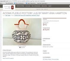 MARY ANN HAMPTON pot for sale https://www.ebth.com/items/1559772-acoma-pueblo-pottery-jug-by-mary-ann-hampton