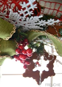 Create applesauce and cinnamon ornaments to hang on a festive holiday garland on frenchiewraps.com