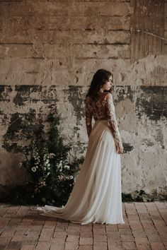The Dusk gown / Nora Sarman Bridal / photo Pinewood Weddings Nora Sarman / The Dusk bodysuit and the Dusk skirt / Two piece wedding gown, made of French embroidered tulle and silk muslin Bridal Lace, Bridal Gowns, Wedding Gowns, Two Piece Wedding Dress, Bridal Separates, Bohemian Bride, Occasion Wear, Bridal Collection, Fashion Dresses