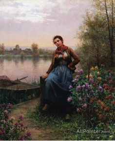 Daniel Ridgway Knight,On The River's Edge oil painting reproductions for sale