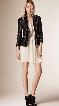 Burberry Black Diamond Quilt Detail Leather Biker Jacket