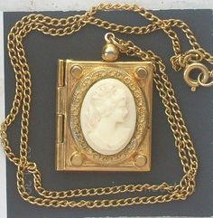 VICTORIAN REVIVAL DOUBLE PHOTO CAMEO BOOK LOCKET