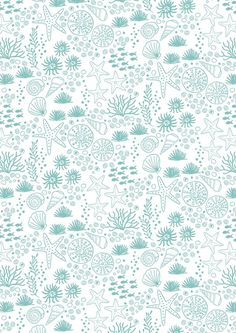 Tissu coton premium Seabed on Light Blue - Modern Patchwork Coastal Fabric, Ocean Fabric, Blue Fabric, Sewing Machine Service, Cotton Quilting Fabric, Fabulous Fabrics, Couture, Surface Pattern Design, Irene