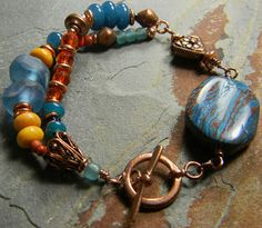 Casilica Bracelet Recycled Glass Copper Blue OOAK by ChrysalisToo, $46.00